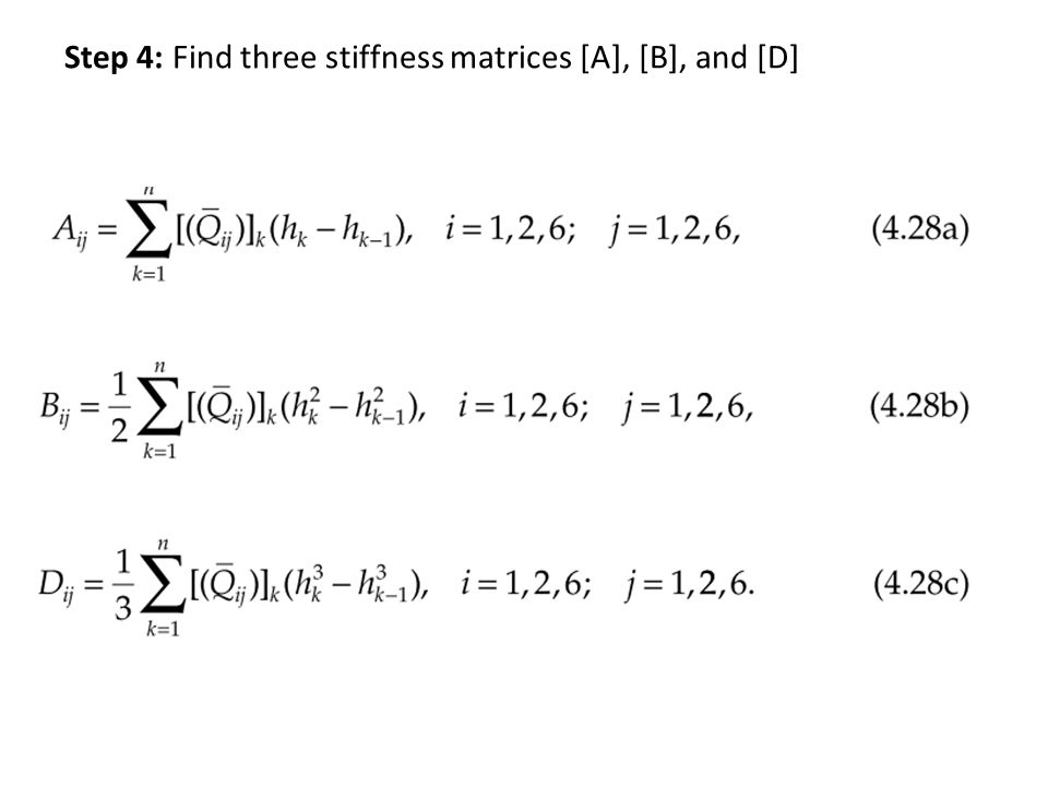 Step 4: Find three stiffness matrices [A], [B], and [D]
